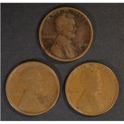3-1914-S LINCOLN CENTS, AVE CIRC