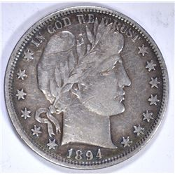 1894 BARBER HALF DOLLAR, VF