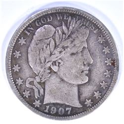 1907  BARBER HALF DOLLAR, VF