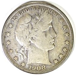 1908-O BARBER HALF DOLLAR, VF