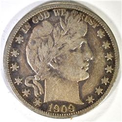 1909-S BARBER HALF DOLLAR, VF