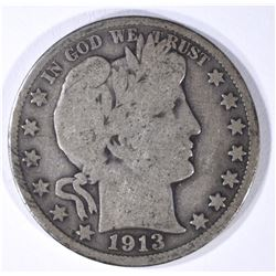 1913 BARBER HALF DOLLAR GOOD+