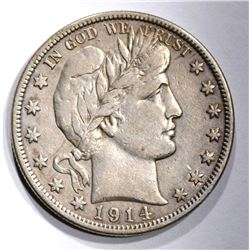 1914-S BARBER HALF DOLLAR, VF