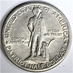 1925 LEXINGTON-CONCORD COMMEM HALF DOLLAR, XF/AU