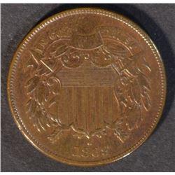 1869 2-CENT PIECE, XF