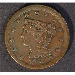 1855 AU/BU HALF CENT,