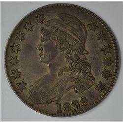 1828 BUST HALF DOLLAR, XF
