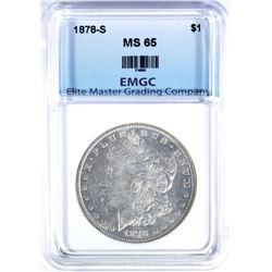 1878-S MORGAN DOLLAR, EMGC GEM BU