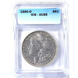 1880-O MORGAN DOLLAR ICG AU-55