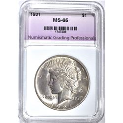 1921 PEACE DOLLAR, NGP GEM BU