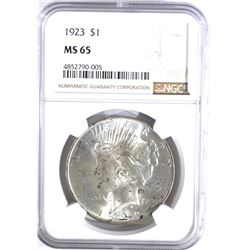 1923 PEACE DOLLAR, NGC MS-65