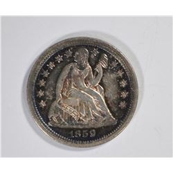 1859 SEATED DIME, CH BU FLASHY