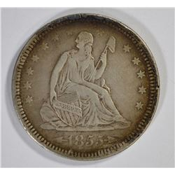 1855 ARROWS SEATED QUARTER, XF