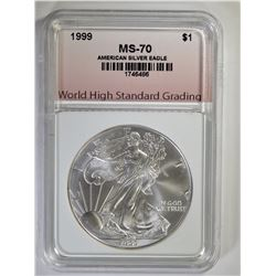 1999 AMERICAN SILVER EAGLE, WHSG PERFECT GEM BU