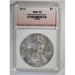 2012 AMERICAN SILVER EAGLE, WHSG PERFECT GEM BU
