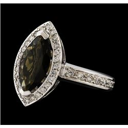 1.61 ctw Tourmaline and Diamond Ring - 14KT White Gold