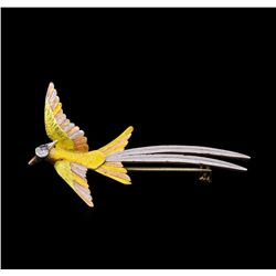 14KT Yellow Gold Diamond Bird Brooch