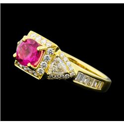 1.99 ctw Pink Tourmaline and Diamond Ring - 18KT Yellow Gold