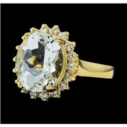 4.91 ctw Aquamarine and Diamond Ring - 14KT Yellow Gold