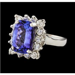 3.84 ctw Tanzanite and Diamond Ring - 14KT White Gold