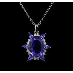GIA Cert 28.43 ctw Tanzanite and Diamond Pendant With Chain - 14KT White Gold
