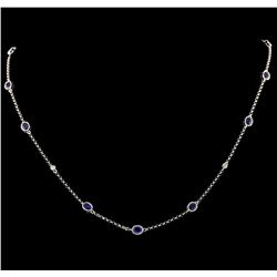 2.00 ctw Sapphire and Diamond Necklace - 18KT White Gold