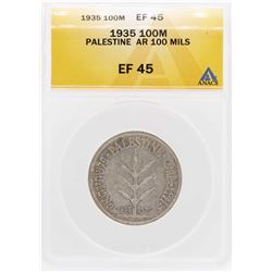 1935 Palestine AR 100 Mils Coin ANACS XF45