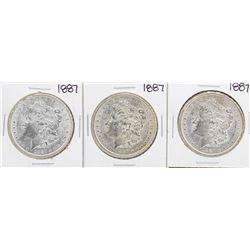 Lot of (3) 1887 $1 Morgan Silver Dollar Coins
