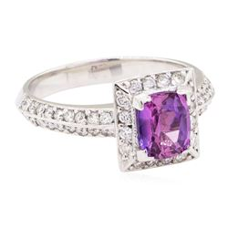 1.78 ctw Purple Sapphire And Diamond Ring - 18KT White Gold