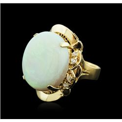 14KT Rose Gold 16.57 ctw Opal and Diamond Ring