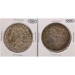 Lot of (2) 1880 $1 Morgan Silver Dollar Coins