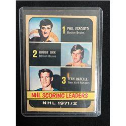1972-73 TOPPS NHL SCORING LEADERS #63 BOBBY ORR/ PHIL ESPOSITO/ JEAN RATELLE