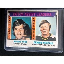 1973-74 Topps #2 Bobby Orr/ Dennis Hextall (Assist Leaders)