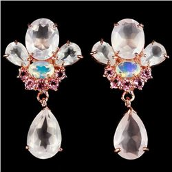 Natural MULTI COLOR ROSE QUARTZ OPAL TOURMALINE Earring