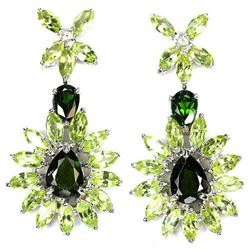 NATURAL GREEN CHROME DIOPSIDE & PERIDOT  Earrings