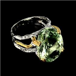 Natural Handmade 20x15 mm Green Amethyst Ring