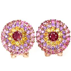 Natural RUBY CITRINE AMETHYST TOURMALINE Earrings