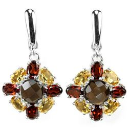 NATURAL SMOKY QUARTZ GARNET & CITRINE Earrings