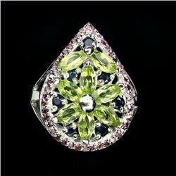 Natural Green Peridot Rhodolite Garnet Sapphire Ring