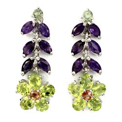 Natural Green Peridot Amethyst Sapphire Earrings