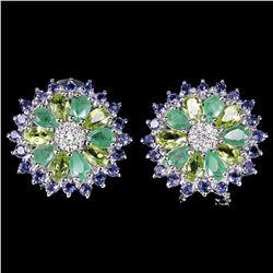 Natural  EMERALD PERIDOT TANZANITE Earrings
