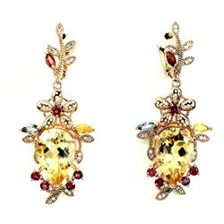 Natural  Citrine Sapphire Pink Tourmaline Earrings
