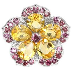 NATURAL CITRINE & RHODOLITE GARNET Flower Ring