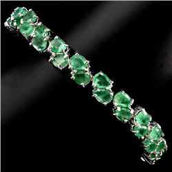 Natural Oval 5x3mm Top Rich Green Emerald Bracelet