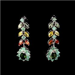 Natural  Emerald Fancy Sapphire Chrome Diopside Earring