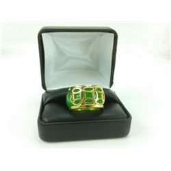 Carved Jade Ring Mounted in 14 kt Gold Overlay