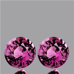 Natural Sparkling Raspberry Pink Burma Spinel Pair 6 MM