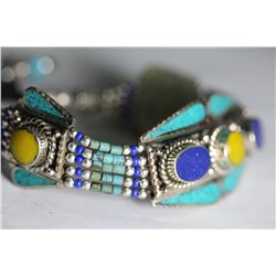 Tibet Amber Turquoise Lapiz Lazuli Bracelet