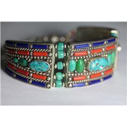 Tibet Hand Made Turquoise Lapiz Lazuli  Coral Bracelet