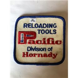 """Vintage Outdoors """"RELOADING TOOLS PACIFIC HORNADY"""" Patch in Like New Condition"""